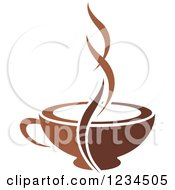 Clipart Of A Brown Cafe Coffee Cup With Steam 4 Royalty Free Vector Illustration