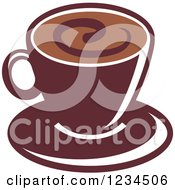 Clipart Of A Brown Cafe Coffee Cup With A Swirl On The Surface 2 Royalty Free Vector Illustration