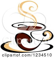 Clipart Of A Brown Cafe Coffee Cup With Steam 46 Royalty Free Vector Illustration
