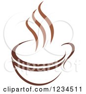 Clipart Of A Brown Cafe Coffee Cup With Steam 7 Royalty Free Vector Illustration