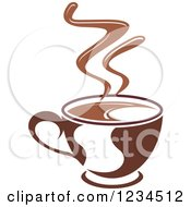 Clipart Of A Brown Cafe Coffee Cup With Steam 6 Royalty Free Vector Illustration