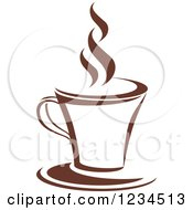 Clipart Of A Brown Cafe Coffee Cup With Steam 3 Royalty Free Vector Illustration