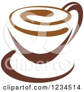 Clipart Of A Brown Cafe Coffee Cup With A Swirl On The Surface Royalty Free Vector Illustration