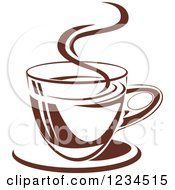 Clipart Of A Brown Cafe Coffee Cup With Steam 9 Royalty Free Vector Illustration