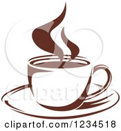 Clipart Of A Brown Cafe Coffee Cup With Steam 12 Royalty Free Vector Illustration
