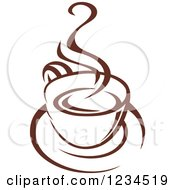Clipart Of A Brown Cafe Coffee Cup With Steam 13 Royalty Free Vector Illustration