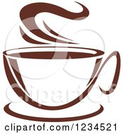 Clipart Of A Brown Cafe Coffee Cup With Steam 15 Royalty Free Vector Illustration