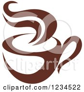 Clipart Of A Brown Cafe Coffee Cup With Steam 16 Royalty Free Vector Illustration