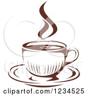Clipart Of A Brown Cafe Coffee Cup With Steam 19 Royalty Free Vector Illustration