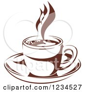 Clipart Of A Brown Cafe Coffee Cup With Steam 26 Royalty Free Vector Illustration