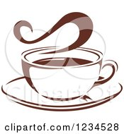 Clipart Of A Brown Cafe Coffee Cup With Steam 27 Royalty Free Vector Illustration
