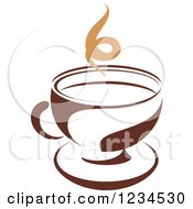 Clipart Of A Brown Cafe Coffee Cup With Steam 29 Royalty Free Vector Illustration