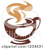 Clipart Of A Brown Cafe Coffee Cup With Steam 30 Royalty Free Vector Illustration