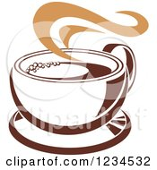 Clipart Of A Brown Cafe Coffee Cup With Steam 31 Royalty Free Vector Illustration