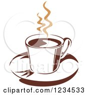 Clipart Of A Brown Cafe Coffee Cup With Steam 32 Royalty Free Vector Illustration