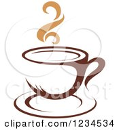 Clipart Of A Brown Cafe Coffee Cup With Steam 33 Royalty Free Vector Illustration