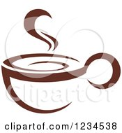 Clipart Of A Brown Cafe Coffee Cup With Steam 37 Royalty Free Vector Illustration