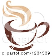 Clipart Of A Brown Cafe Coffee Cup With Steam 38 Royalty Free Vector Illustration