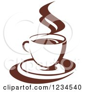 Clipart Of A Brown Cafe Coffee Cup With Steam 39 Royalty Free Vector Illustration