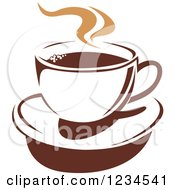 Clipart Of A Brown Cafe Coffee Cup With Steam 40 Royalty Free Vector Illustration