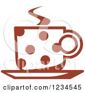 Clipart Of A Brown Polka Dot Cafe Coffee Cup With Steam Royalty Free Vector Illustration