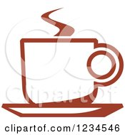 Clipart Of A Brown Cafe Coffee Cup With Steam 45 Royalty Free Vector Illustration