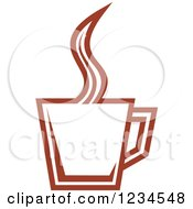 Clipart Of A Brown Cafe Coffee Cup With Steam 43 Royalty Free Vector Illustration