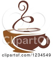 Clipart Of A Brown Cafe Coffee Cup With Steam 2 Royalty Free Vector Illustration