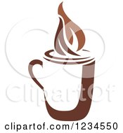 Clipart Of A Brown Cafe Coffee Cup With Steam Royalty Free Vector Illustration