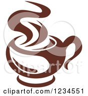 Clipart Of A Brown Cafe Coffee Cup With Steam 20 Royalty Free Vector Illustration