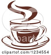 Clipart Of A Brown Cafe Coffee Cup With Steam 24 Royalty Free Vector Illustration