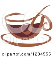 Clipart Of A Brown Cafe Coffee Cup With Steam 5 Royalty Free Vector Illustration