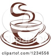 Clipart Of A Brown Cafe Coffee Cup With Steam 8 Royalty Free Vector Illustration by Seamartini Graphics