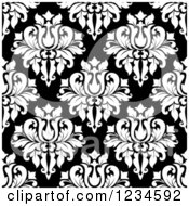Clipart Of A Seamless Black And White Damask Background Pattern 6 Royalty Free Vector Illustration