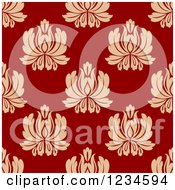 Clipart Of A Seamless Red And Tan Damask Background Pattern Royalty Free Vector Illustration