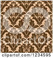 Clipart Of A Seamless Brown Damask Background Pattern 2 Royalty Free Vector Illustration