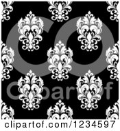 Clipart Of A Seamless Black And White Damask Background Pattern 7 Royalty Free Vector Illustration