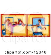 Clay Sculpture Clipart Woman Kickboxing And A Man Running On A Treadmill In A Gym Royalty Free 3d Illustration by Amy Vangsgard