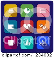 Clipart Of Colorful Business Icons On Navy Blue Royalty Free Vector Illustration