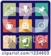 Clipart Of Colorful Office Icons On Navy Blue Royalty Free Vector Illustration by Vector Tradition SM