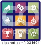 Clipart Of Colorful Sports Icons On Navy Blue Royalty Free Vector Illustration by Vector Tradition SM