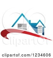 Clipart Of A House With A Blue Roof And Red Swoosh Royalty Free Vector Illustration