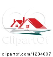 Clipart Of Houses With Red Roofs And Teal And Gray Swooshes Royalty Free Vector Illustration