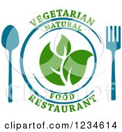 Blue Fork And Spoon By A Plate With Leaves And Vegetarian Natural Food Restaurant Text