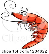 Clipart Of A Happy Prawn Royalty Free Vector Illustration by Vector Tradition SM