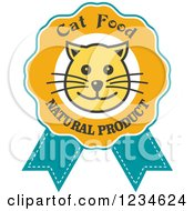 Clipart Of A Happy Cat Face On A Food Ribbon Label Royalty Free Vector Illustration