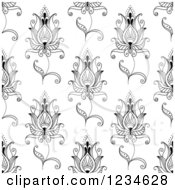 Clipart Of A Seamless Black And White Henna Lotus Flower Pattern 2 Royalty Free Vector Illustration