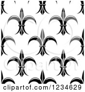 Seamless Black And White Fleur De Lis Background Pattern 5
