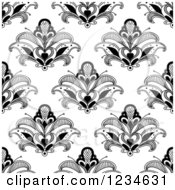 Clipart Of A Seamless Black And White Henna Lotus Flower Pattern 3 Royalty Free Vector Illustration