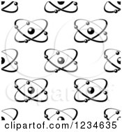 Clipart Of A Black And White Seamless Atom And Molecule Pattern 5 Royalty Free Vector Illustration
